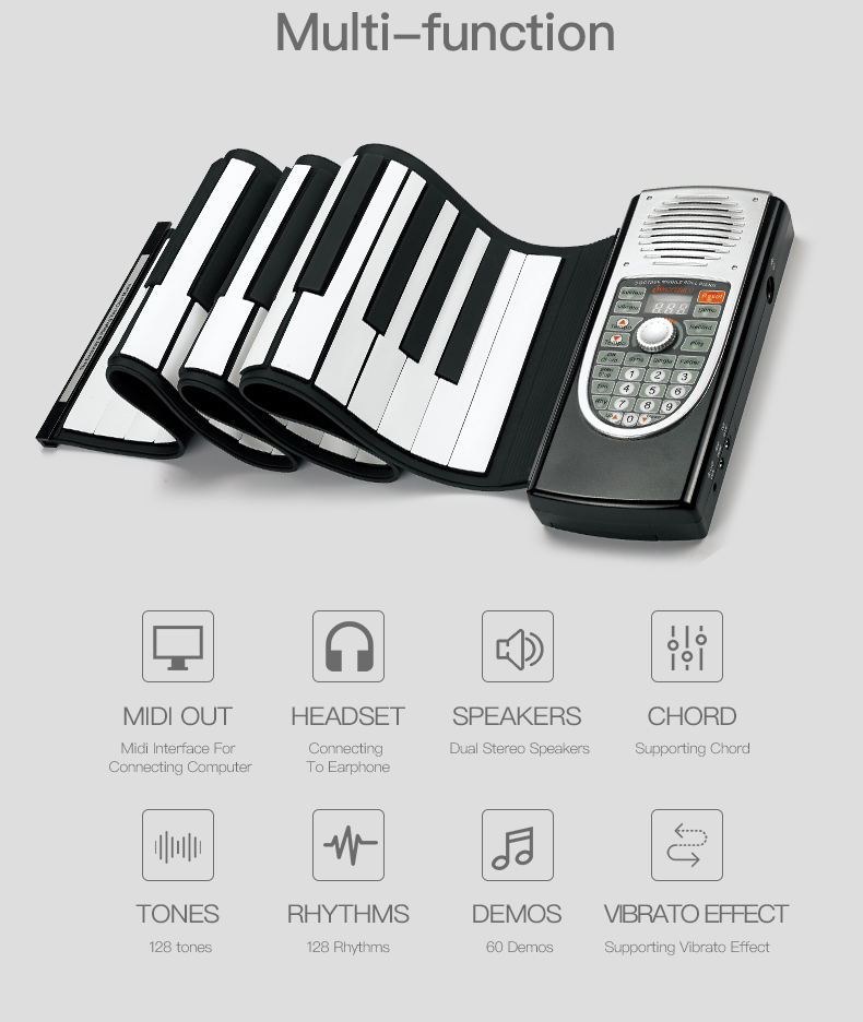 Hot selling 2017 amazon promotional gift portable 61 keys flexible roll up piano