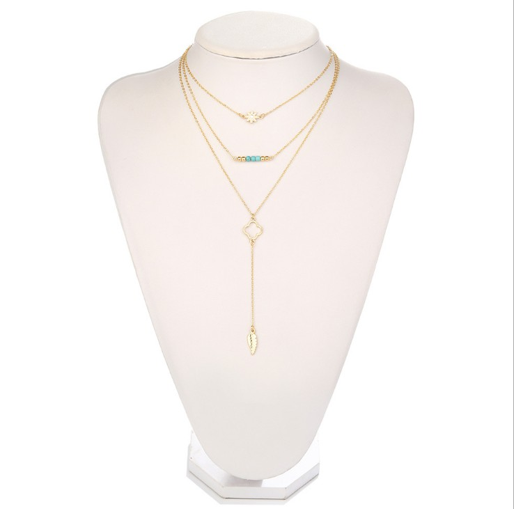 15 Styles Available Weight 8 g Turquoise Stone and Pendant Leaf 3 Set Light Weight Gold Delicate Layering Necklaces