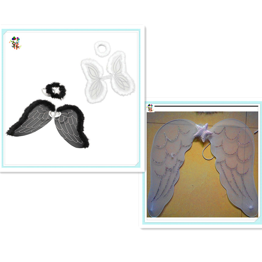 2 Colors Adult Party Fancy Dress Angel Wings with Halo HPC-0817