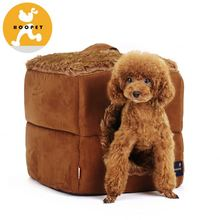 Special cubic style soft fake fur covered fabric tiny dog house and cat cave
