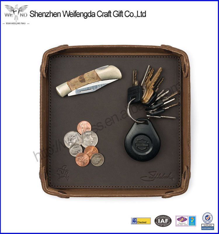 Brown leather desk money coin tray for promotion
