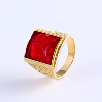 11760-2016 latest new design 24k gold plated ladies big ruby stone finger rings