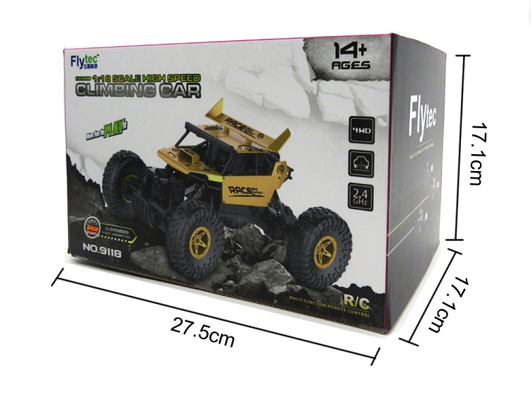 Flytec 9118 Wholesale 1 / 18 Scale Remote Control Car 2.4G 4wd Hobby RC Rock Alloy Crawler Climbing Car