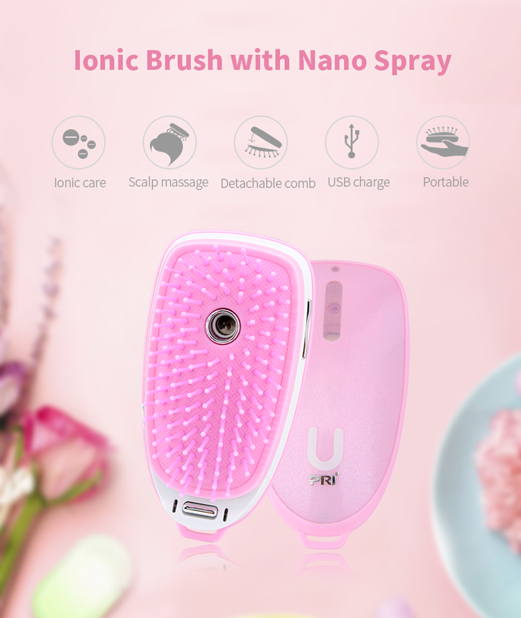 PRITECH Customized Vibration Function Nano Spray Ionic Hair Brush With USB Cable