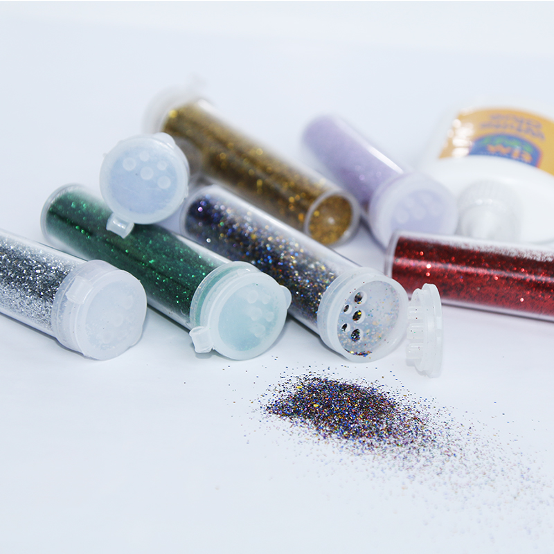 8 Colors Kids Craft Glitter Shakers & Glue Set
