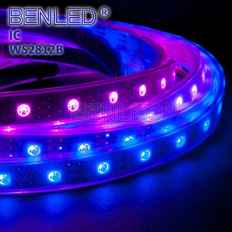 Smart WS 2812B Pixel DC 5V 12V Addressable Ic Built In Chip Full Color <strong>RGB</strong> 60LED Flexible LED WS2812B IC Strip With Controller