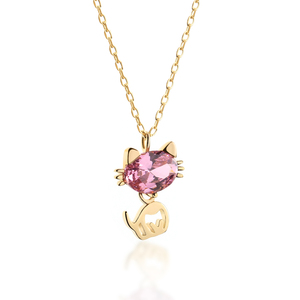 Pink Stone Pure 925 Sterling Silver Fashion Jewelry Gold Plated Cat Charm Pendant Necklace