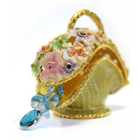 2015 QIFU Wholesale MIni Fancy Unique Flowers Colorful Jeweled Enamel Trinket Gift Boxes for Girls