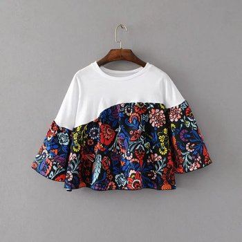 MS75164L 2017 latest floral cotton women t-shirts
