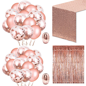 Rose Gold Party Set Confetti Balloons with 2 Rolls of Aluminum Foil and Foil Curtains Sequins Table Flag Party Birthday Wedding