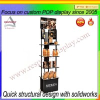 Customized high quality hair salon display shelf tiered floor salon retail stand
