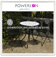 Foldable Metal Outdoor Mosaic Bistro Set