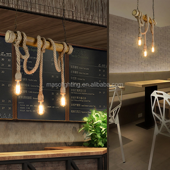 Chinese new model modern design wood chandelier hemp rope pendant lamp