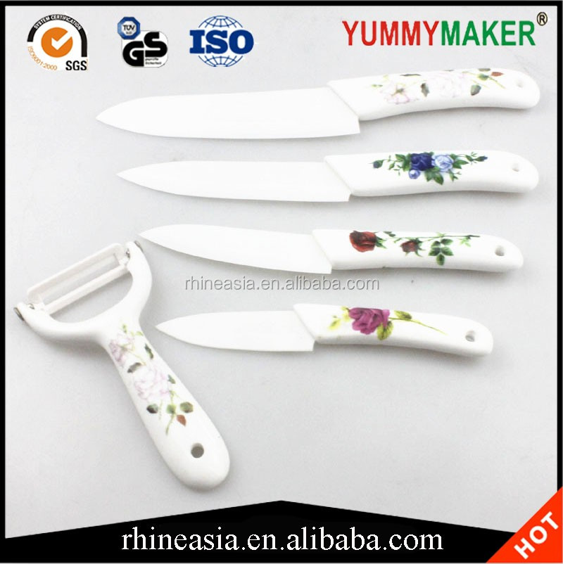 Beauty Gifts kitchen knife set Ceramic Knife + Peeler+Covers fruit knife set