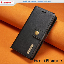 Wholesale Detachable Flip Leather Phone Cover Case For iPhone7 7plus,2 In 1 Wallet Leather Cell Phone Case With Buckle
