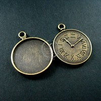 25mm round tray bezel setting vintage antiqued bronze alloy watch clock pendant charm DIY supplies 1810245