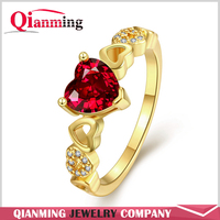 Brand Unique Luxury Crystal Wedding Ring Real 18K Rose Gold Plated Red Heart Zircon Love Wedding Rings For Women Jewelry