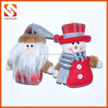 Xmas Tree Hanging Ornament Christmas Santa and Snowman Doll Decoration