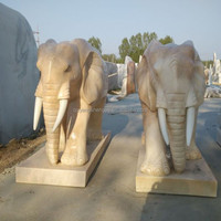 Life Size Marble Elephant Statue Sculpture