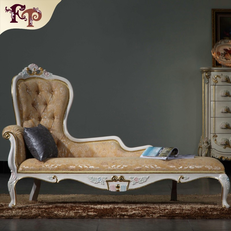 French louis style furniture - solid wood hand carving leather upholstered chaise lounge