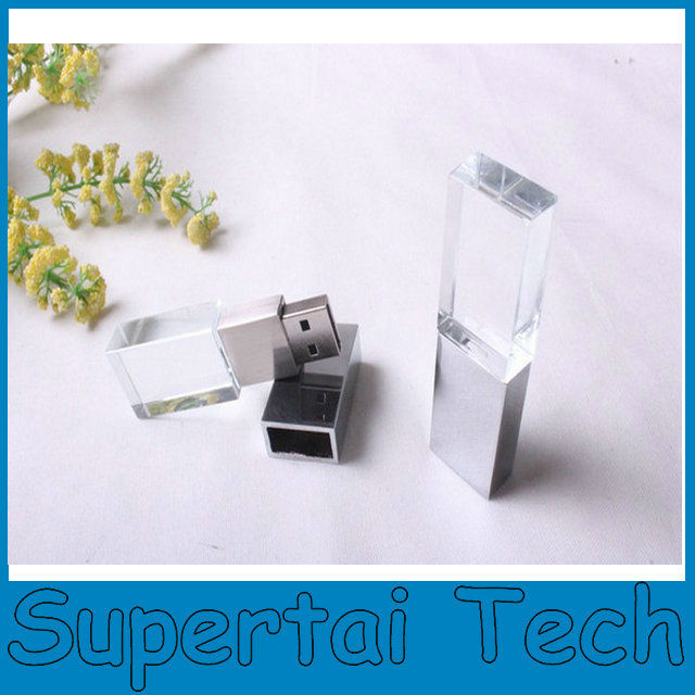 Laser engrave 3D logo usb 2.0 acrylic crystal usb <strong>flash</strong> 8gb
