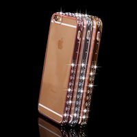 Glitter Bling Rhinestone Diamond Luxury Crystal Diamond Frame Clear Tpu Case Cover for iphone 6