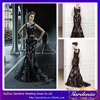 Hot Selling Elegant Black Mermaid Scoop Neck Sheer Top Lace Appliqued Satin Long Celebrity Evening Dress (CTD008)