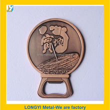 coin hold copper beer bottle opener with logo