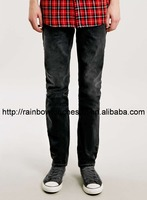 Black washed custom men denim jeans wholesale plain men skinny jeans