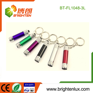 Factory Bulk Sale LR41 Button Cell Operated Pocket Cheap Promotional Aluminum Small Mini led Flashlight Keychain
