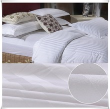 White 100% cotton fabric 3cm stripe hotel quilt cover hotel bed linen hotel bedding set