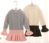 P18B181TR children's girl cute lovely cotton sweater long sleeve falbala dress