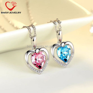 new style best selling Christmas jewelry heart design 925 silver gemstone pendants