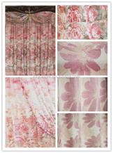 100% polyester Window Screening Balcony Curtains Fabric Finished Customized printing flower curtains blackout fabric