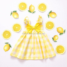 Boutique Hot Clothes Baby Summer Dress Baby Girl Lemon Yellow Dresses