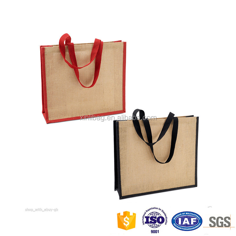 Eco-friendly resuable and foldable jute tote shopping bag