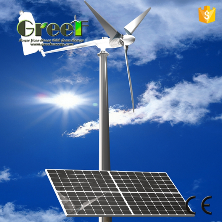 5kw wind solar hybrid system , 10kw home use wind solar hybrid power system for grid connection