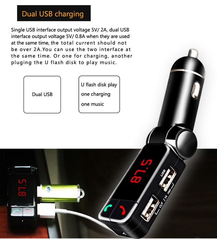 GXYKIT The china manufacturers USB car charger with Bluetooth handsfree music play
