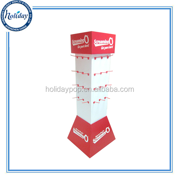 Pegable Plastic Hook Floor cardboard wall shelf display for Hanging Item,New Style Custom Hook Floor Cardboard Display