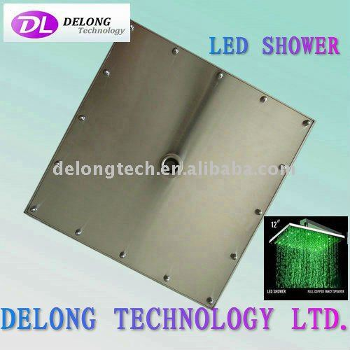 "12"" 12pcs LED RGB color stainless steel ceiling led rain shower,water saving"