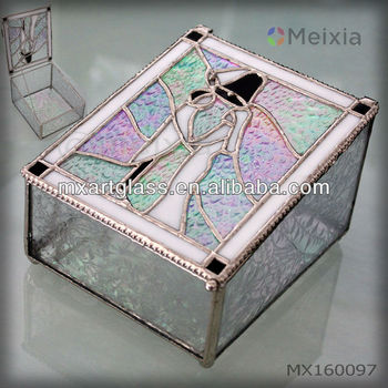 MX160097 China wholesale fancy tiffany style rainbow shine stained glass jewelry box for wedding gift favor
