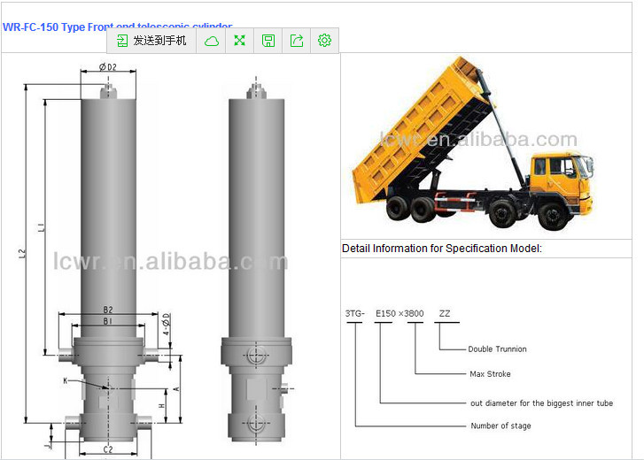 Hydraulic telescopic cylinder for tipper truck