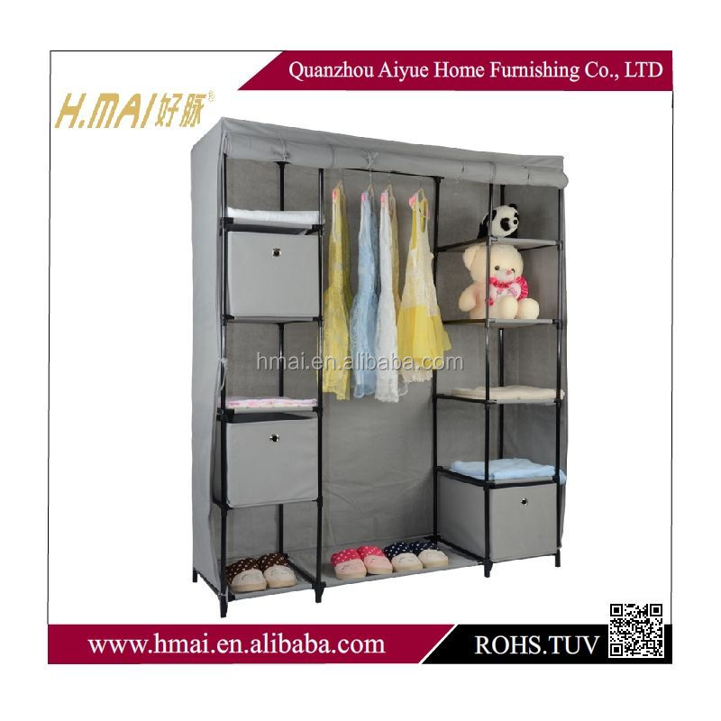 fabric foldable wardrobe with metal tube clothes closet with doors