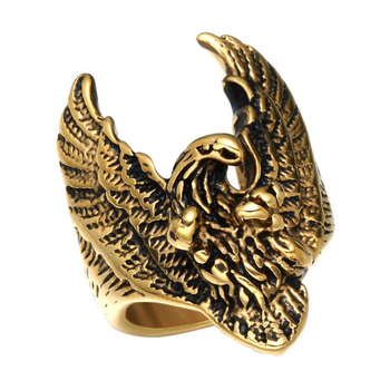 Wholesale Vintage Product Animal Shape Three Colors Stainless Steel Flying Eagle Cool Men Ring