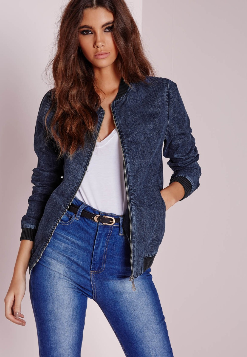 Fashion Zip Women Acid Wash Denim Winter Quilted Bomber Jacket View