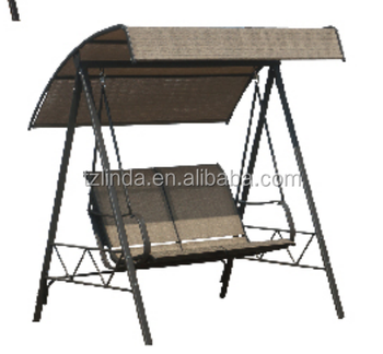 Outdoor patio hanging double swing chair with canopy