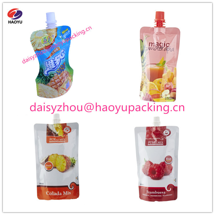 Juice drink spout pouch, custom printing stand-up pouch bag,120ml 180ml 200ml 250ml 380ml 500ml beverage packaging