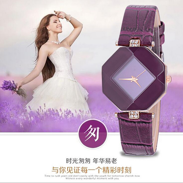 2016 Promotional leather waterproof watch women ladies vogue diamond watch for girl