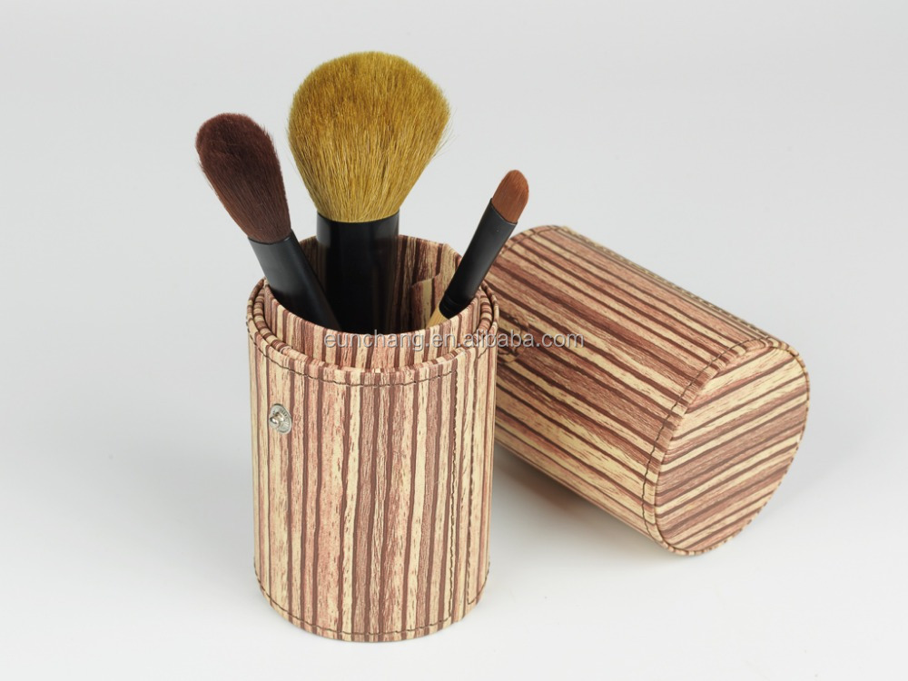 Well design striped holder cylinder case with bamboo brush set with BSCI