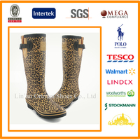design your own OEM made wholesale leopard style ladies sexy rubber boots with buckle